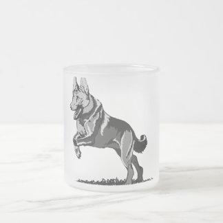 Jump shepherd dog frosted glass coffee mug