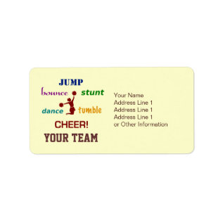 Jump Stunt Bounce Cheerleader Address Labels at Zazzle