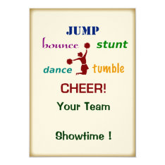 Jump Stunt Bounce Cheerleader Event Invitation at Zazzle