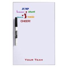 Jump Stunt Bounce Cheerleader Team Dry Erase Board at Zazzle
