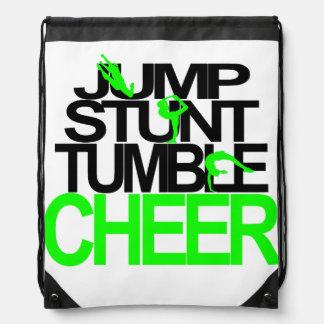 Jump, Stunt, Tumble, Cheer Backpack Green & Black Cinch Bag