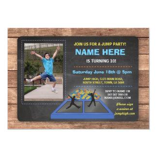 Jump Trampoline Blue Birthday Invite