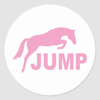 JUMP with Jumping Horse (pink) Classic Round Sticker
