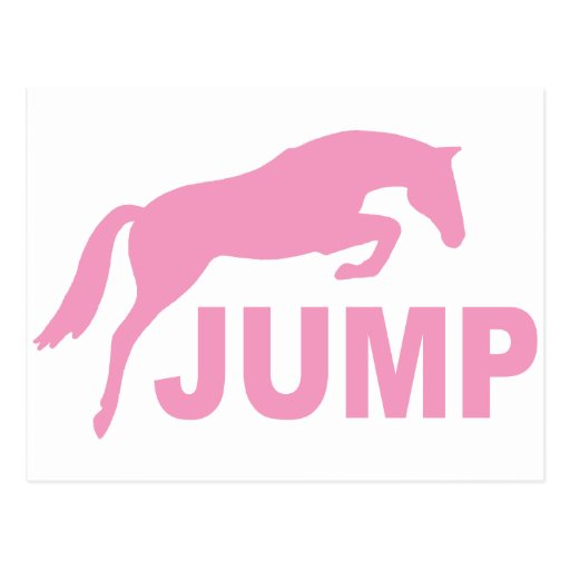 JUMP with Jumping Horse (pink) Postcard