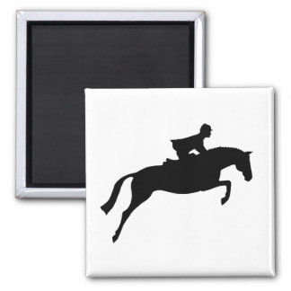Jumper Horse Silhouette 2 Inch Square Magnet