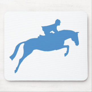 Jumper Horse Silhouette (blue) Mouse Pad