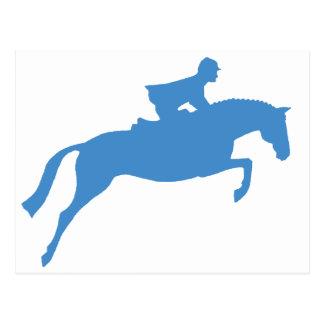 Jumper Horse Silhouette (blue) Postcard