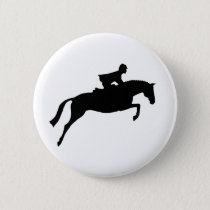 Jumper Horse Silhouette Button