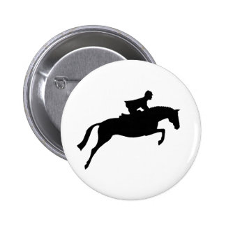 Jumper Horse Silhouette Button