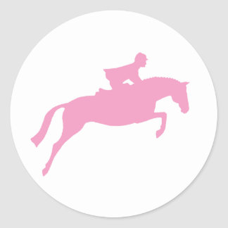 Jumper Horse Silhouette (pink) Classic Round Sticker