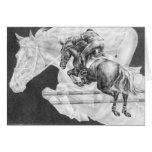 Jumper Horses Drawing by Kelli Swan Greeting Cards