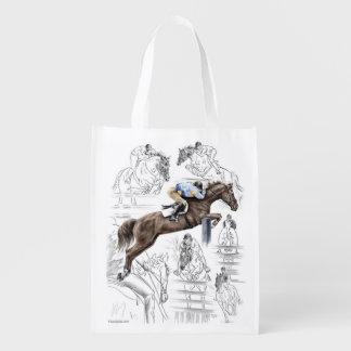 Jumper Horses Fences Montage Grocery Bag