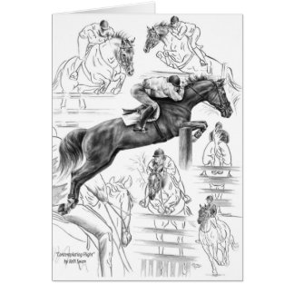 Jumper Horses Montage Drawing by Kelli Swan Greeting Card