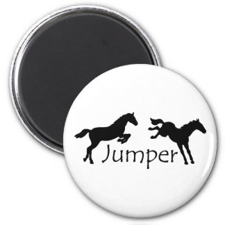 Jumper With Two Jumping Horses 2 Inch Round Magnet