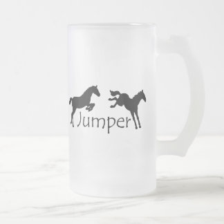Jumper With Two Jumping Horses Frosted Glass Beer Mug