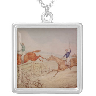 Jumping a Fence Silver Plated Necklace