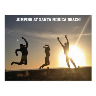 Jumping at Santa Monica Beach Postcard