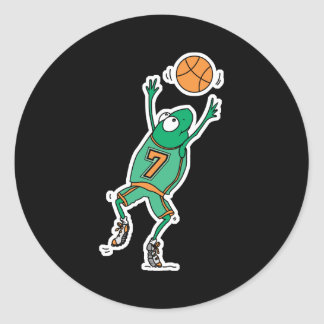 jumping basketball frog classic round sticker