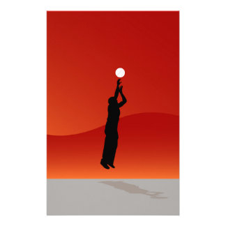 Jumping Basketball Player Stationery