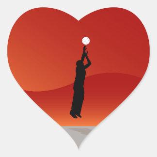 Jumping Basketball Player Heart Sticker