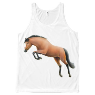 Jumping Bay Thoroughbred Horse Unisex Tank All-Over Print Tank Top
