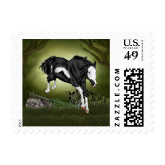 Jumping Black and White Paint Horse Print Postage