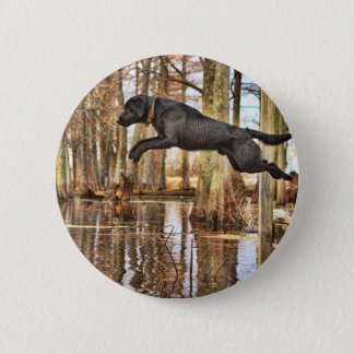 Jumping Black Retriever Pinback Button
