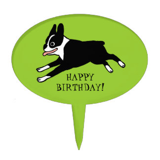 Jumping Boston Terrier with Custom Text Cake Topper