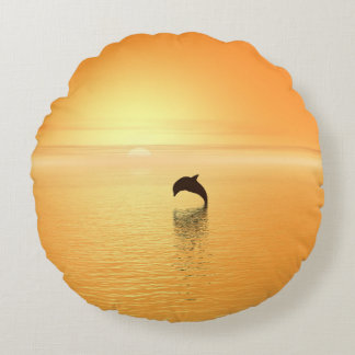 Jumping Bottlenose Dolphin with Ocean Sunrise Round Pillow