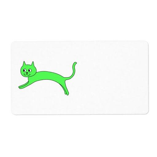 Jumping Bright Green Cat. Shipping Label