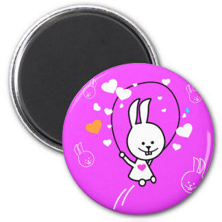 Jumping Bunny Rabbit - Pink 2 Inch Round Magnet