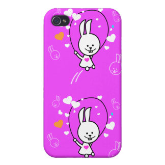 Jumping Bunny Rabbit - Pink Case For iPhone 4