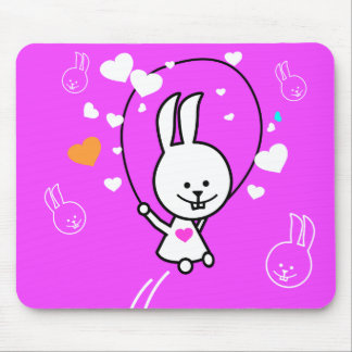 Jumping Bunny Rabbit - Pink Mouse Pad