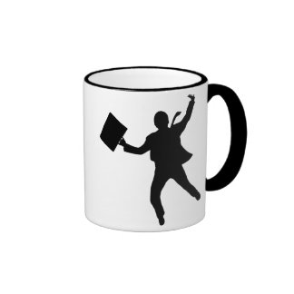 Jumping Business Man Ringer Coffee Mug