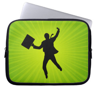 Jumping Business Man With A Starburst Background Computer Sleeve