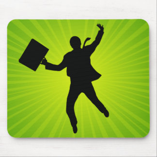 Jumping Business Man With A Starburst Background Mouse Pad