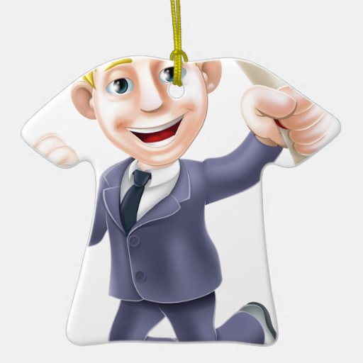 Jumping businessman and scroll ceramic T-Shirt decoration
