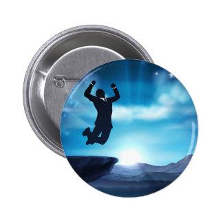 Jumping Businessman Success Concept Button