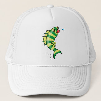 Jumping Cartoon Fish T-shirt Trucker Hat