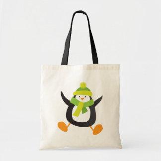 Jumping Cartoon Penguin Novelty Tote Bags