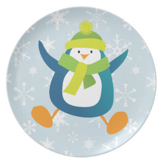 Jumping Cartoon Penguin & Snowflakes Plate