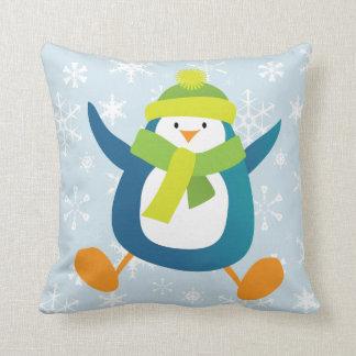 Jumping Cartoon Penguin & Snowflakes Throw Pillow