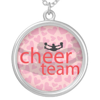 Jumping Cheerleader Team Gear Silver Plated Necklace