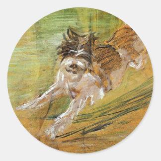 Jumping Dog Schlick by Franz Marc Classic Round Sticker