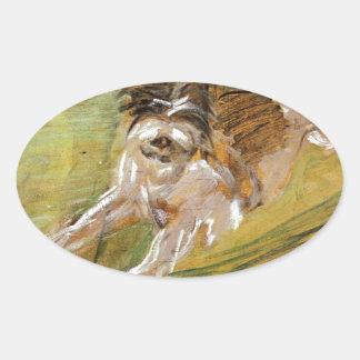 Jumping Dog Schlick by Franz Marc Oval Sticker
