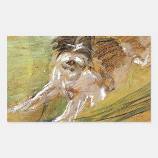 Jumping Dog Schlick by Franz Marc Rectangular Sticker