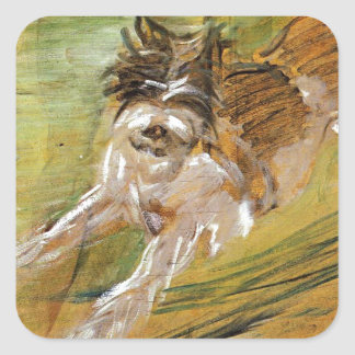 Jumping Dog Schlick by Franz Marc Square Sticker