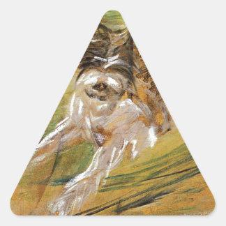 Jumping Dog Schlick by Franz Marc Triangle Sticker