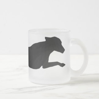 Jumping Dog Silhouette Frosted Glass Coffee Mug
