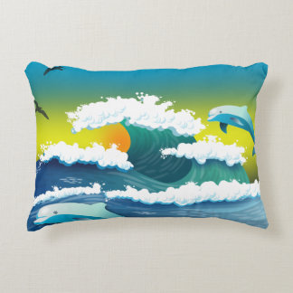 Jumping dolphin accent pillow